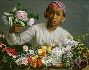 Frederic Bazille Young Woman with Peonies